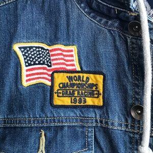"American Rag Jackets & Coats - American Rag ""Drag Racing"" hooded denim vest sz L"